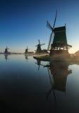 在Zaanse Schans的日出 免版税库存图片