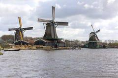 在Zaanse Schans的风车 免版税库存照片