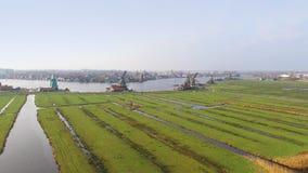 在Zaanse Schans的鸟瞰图 免版税库存照片