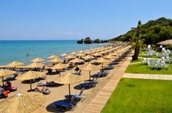 在Zakynthos海岛上的波尔图Zoro海滩 图库摄影