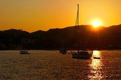 在Zakynthos海岛的日落 免版税库存图片