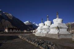 在Zanskar谷的圣洁Stupa,拉达克,印度 免版税库存照片
