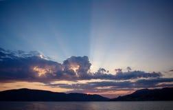 在Zelenica,黑山附近的日落 免版税库存照片