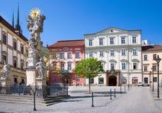 在Zelny trh正方形,镇布尔诺,摩拉维亚, Czec的StTrinity专栏 免版税库存照片