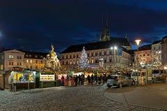 在Zelny Trh菜集市广场的圣诞节市场在布尔诺,捷克 图库摄影