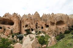 在Zelve谷,卡帕多细亚的岩层 免版税图库摄影
