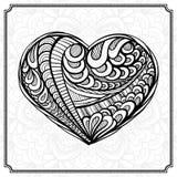 在zendoodle样式的手drowing的心脏 免版税库存图片