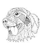 在zentangle和点刻法样式的金毛猎犬狗 向量 免版税库存图片