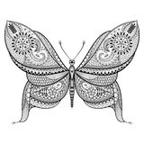 在zentangle样式的手拉的蝴蝶 装饰部族patte 免版税库存照片