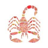 在zentangle样式的蝎子在白色背景 免版税库存照片