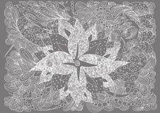 在zentangle的背景 花卉灰色 也corel凹道例证向量 乱画图画 冥想的锻炼 反的彩图 免版税库存图片
