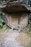 在Zittauer Gebirge的Topfer小山附近供以座位轰鸣声岩石 库存照片
