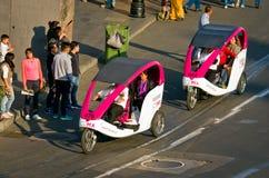 在Zocalo的周期出租汽车在墨西哥城 图库摄影