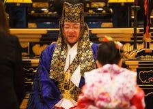 在Zojoji寺庙-东京的Shichi去圣庆祝 免版税库存照片