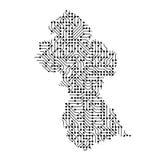 圭亚那的抽象概要地图从黑色的打印了板, c 免版税图库摄影