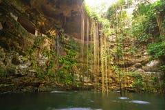 地下池Ik-Kil Cenote 免版税图库摄影