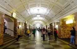 地下火车站在莫斯科,俄罗斯 免版税库存照片