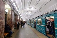 地下火车站在莫斯科,俄罗斯 库存图片