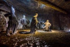地下维利奇卡盐矿13世纪,一个世界` s老水手在克拉科夫附近开采,波兰 免版税库存照片