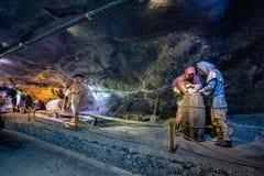 地下维利奇卡盐矿13世纪,一个世界` s老水手在克拉科夫附近开采,波兰 库存照片
