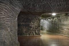 地下隧道在盐矿 免版税库存图片