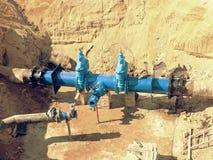 地下主要城市给水供应管道的重建 免版税库存图片