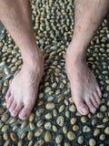 织地不很细水泥铺与石头和脚按摩 免版税库存图片
