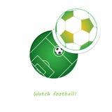 织地不很细草橄榄球,在圈子窥视孔的足球场 免版税库存照片