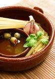 地中海任一顿成份意大利的膳食准备 库存图片