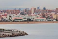 地中海城市在11月早晨 西班牙巴伦西亚 免版税库存照片