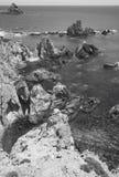 地中海峭壁海岸线在阿尔梅里雅,西班牙 库存照片