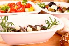地中海开胃小菜和被充塞的藤叶子 免版税图库摄影