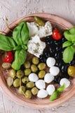 地中海开胃菜板材 库存照片