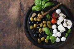 地中海开胃菜板材 库存图片