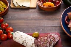 地中海快餐-与拷贝空间的塔帕纤维布 免版税图库摄影
