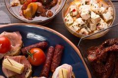 地中海快餐-塔帕纤维布顶视图  库存图片