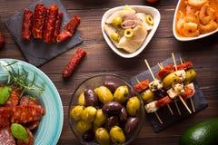 地中海快餐-塔帕纤维布顶视图  图库摄影