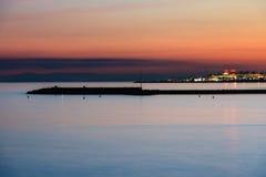 地中海日落在马尔韦利亚,太阳海岸,西班牙 库存照片