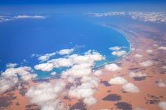 地中海海岸线鸟瞰图  图库摄影