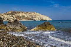 地中海海景:美之女神- Petra tou Romiou海滩, 库存图片