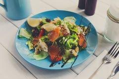 地中海海鲜沙拉,餐馆服务 库存图片