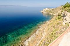 地中海海滩在米拉佐,西西里岛 库存图片