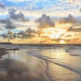 地中海海滩日落 库存照片