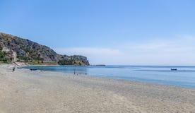 地中海海滩爱奥尼亚人海博瓦马里纳,卡拉布里亚,意大利 免版税库存图片