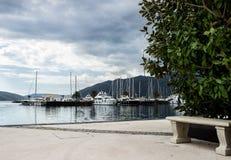 地中海游艇小游艇船坞 蒂瓦特,黑山 免版税库存照片