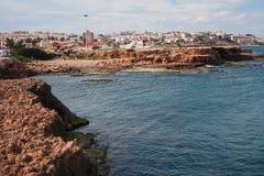地中海的岩石海岸 库存照片