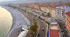 地中海的看法,天使海湾,尼斯 库存图片