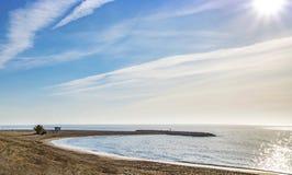 地中海的看法Mojacar的Playa 免版税库存图片