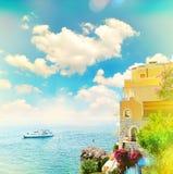地中海美好的横向 海看法  库存图片