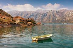地中海美好的横向 黑山,科托尔湾 免版税图库摄影